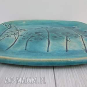 awangardowe ceramika talerz turkusowy z roślinami