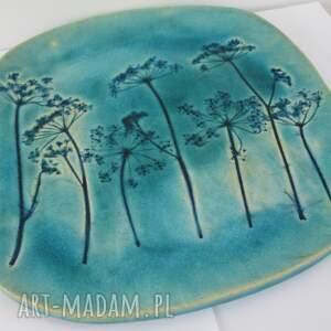 beżowe ceramika dekoracyjny talerz turkusowy z roślinami