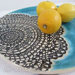 ceramika turkusowa turkusowy talerz ceramiczny z