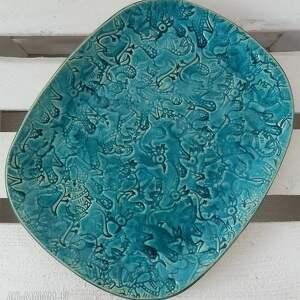 eleganckie ceramika turkusowa turkusowy talerz z wzorami