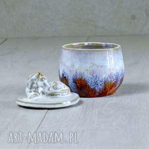 turkusowe ceramika rękodzieło urocza cukiernica z figurką konia