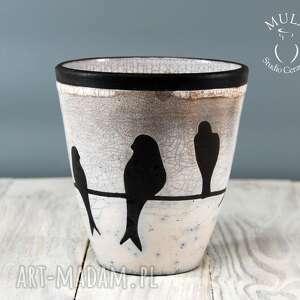 intrygujące ceramika technika-raku wazon osłonka raku jaskółki