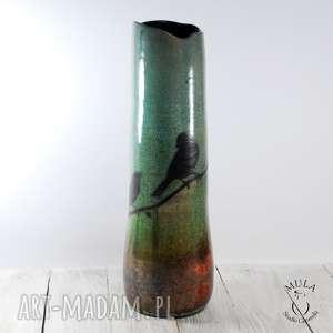 ceramika raku wazon ptaki wysoki