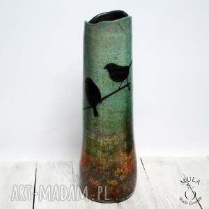 ceramika technika-raku wazon ptaki raku wysoki