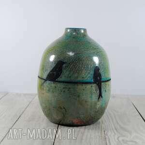 turkusowe ceramika raku wazon jaskółki