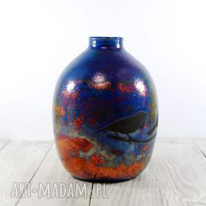 Ceramika MULA Wazon Raku Wróbelki - ptaszki