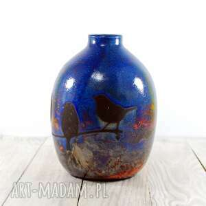 ceramika technika raku wazon wróbelki