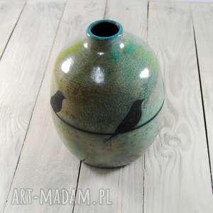 raku ceramika zielone wazon jaskółki