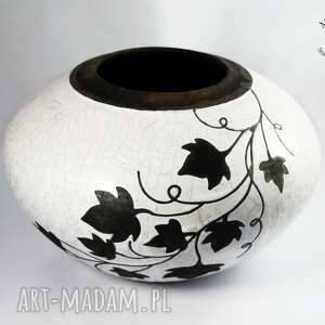 ceramika wazon raku liście winorośli