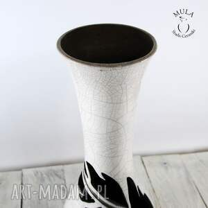 ceramiczny ceramika wazon wysoki pióro raku
