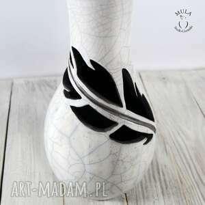 białe ceramika raku wazon wysoki pióro