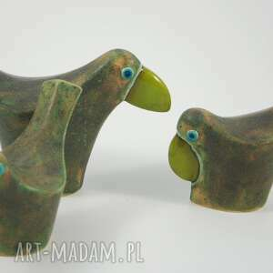 ciekawe ceramika zwierzęta wróble w zieleni