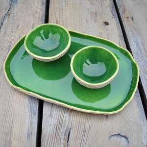 zielone ceramika wyjątkowy zestaw: patera dwie