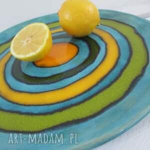 talerz ceramiczny turkusowe zakręcona patera ceramiczna