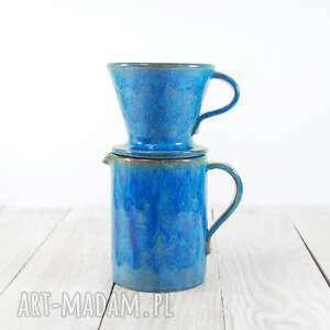 ceramika kawa zaparzacz z dwoma czarkami