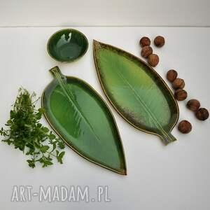 urokliwe ceramika zestaw ceramiczny - 2 x talerz liść
