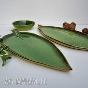 Ceramika Tyka: Zestaw ceramiczny - 2 x talerz liść plus miseczka