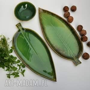 ceramika talerz zestaw ceramiczny - 2 x liść