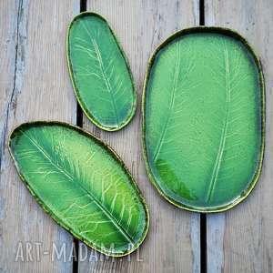 ręcznie zrobione ceramika zestaw ceramicznych pater z liściem