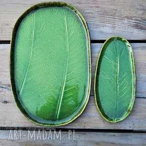 prezent ceramika zestaw ceramicznych pater z liściem