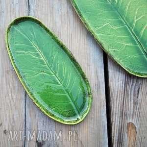 brązowe ceramika patera zestaw ceramicznych pater z liściem