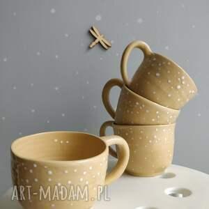 ceramika: Zestaw czterech ręcznie robionych kubeczków ceramicznych