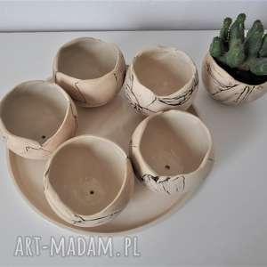 czarne ceramika doniczka zestaw 5 doniczek kul na sukulenty