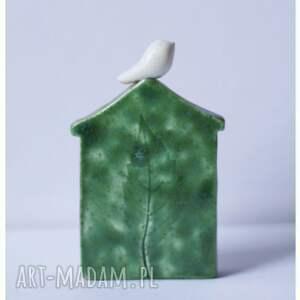 zielone ceramika zestaw dwóch domków zielonych