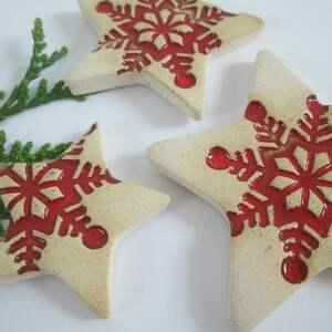 święta upominek śnieżynki zestaw 3 gwiazdek czerwonych