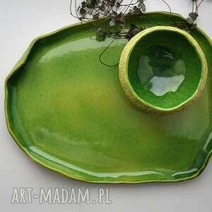 Zestaw patera miseczka - ręcznie fakturowane - ceramika