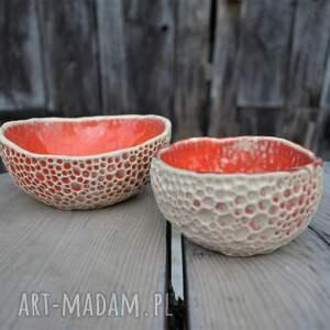 ceramika: Zestaw ręcznie fakturowanych miseczek