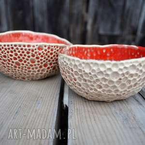 ceramika: Zestaw ręcznie fakturowanych miseczek miseczka