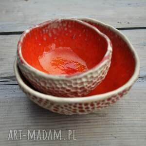 ceramika miseczka zestaw ręcznie fakturowanych