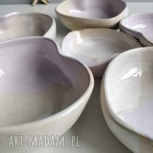 białe miska zestaw sześciu ręcznie robionych