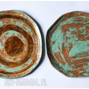 ceramika zestaw 2 talerzy etno mazaki
