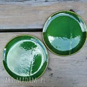 brązowe ceramika talerz zestaw talerzy z liściem chrzanu