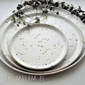 czarne ceramika talerz zestaw talerzy 3 szt - biało
