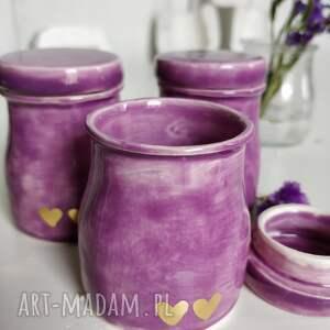 handmade ceramika zestaw trzech ręcznie robionych