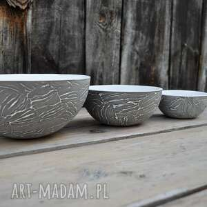 misy ceramika zestaw trzech mis z szarej gliny