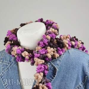 apaszka fioletowe bąbelkowy szal - fiolet