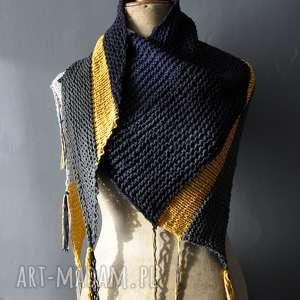 chustki i apaszki bawełniana chusta wykonana na drutach z delikatnej bawełny