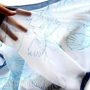 frapujące chustki i apaszki sroka biały szal jedwabny sroki ręcznie