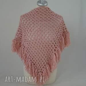 handmade chustki i apaszki chusta ażurowa z frędzlami pudrowy