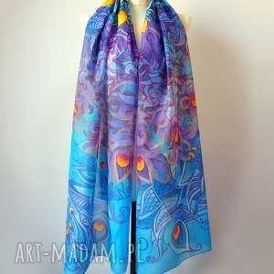 chustki i apaszki jedwab malowany duży szal jedwabny ręcznie