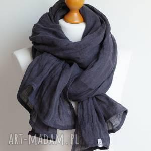ręcznie wykonane szal granatowy chusta lniany, modny
