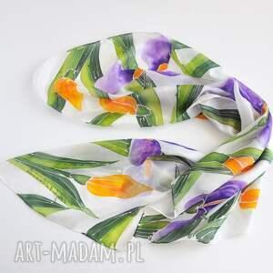 chustki i apaszki kwiatowa chusta jedwabna -irysy