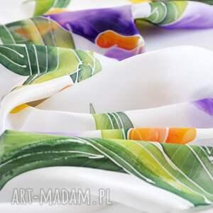 frapujące chustki i apaszki kwiatowa chusta jedwabna -irysy