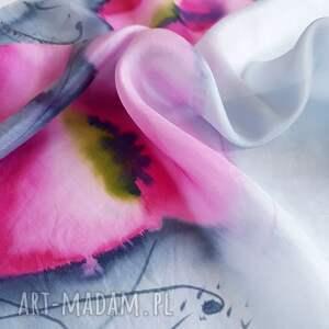 apaszka-w-maki chustki i apaszki jedwabna malowana apaszka - makowa
