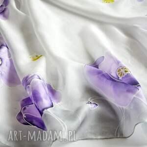 chustki i apaszki malowana chusta jedwabna - maki w