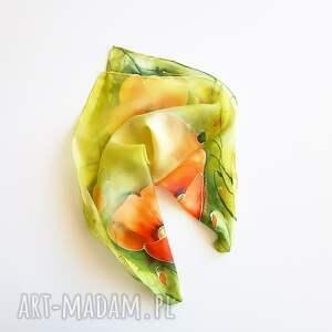 pomarańczowe chustki i apaszki malowana-chustka jedwabna malowana apaszka - makowa